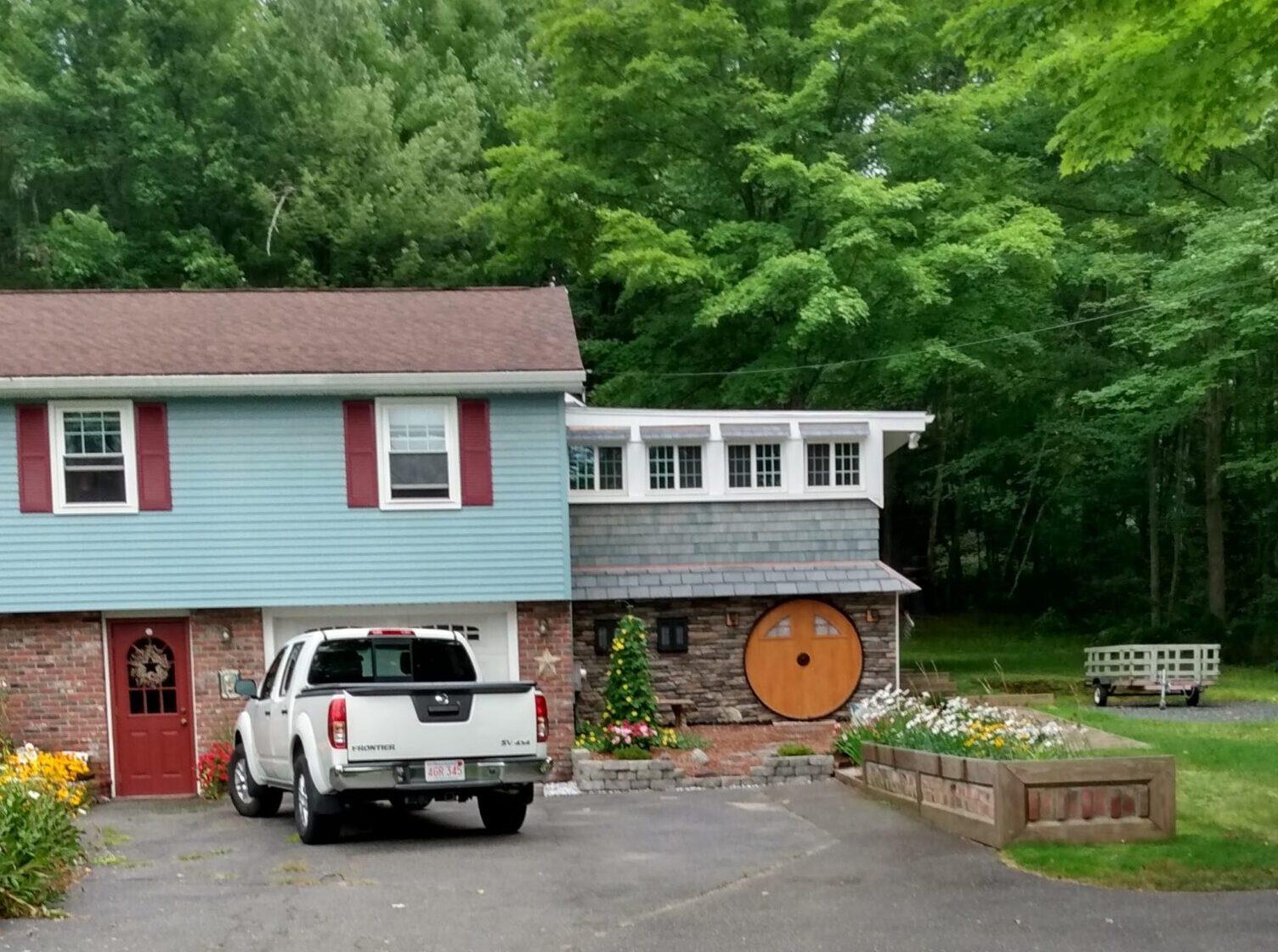 House with a round hobbit door