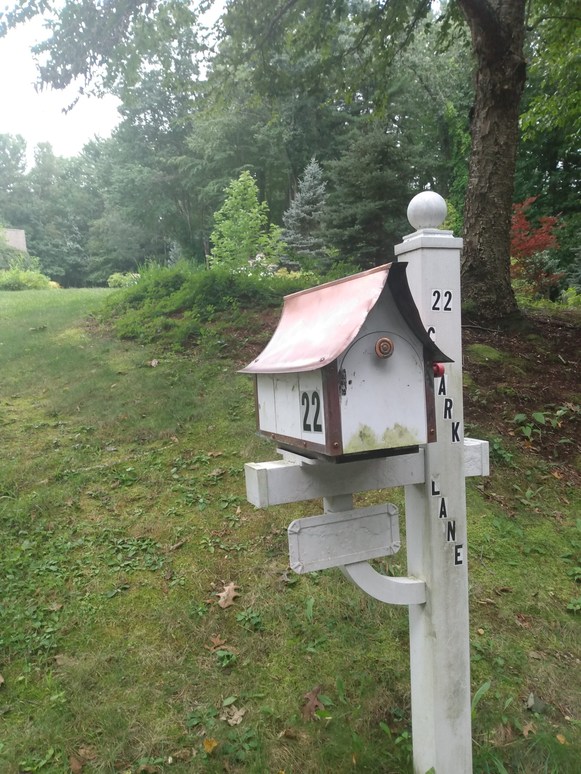mailbox with a copper roof