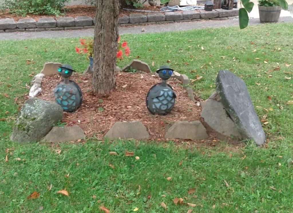 garden lamps shaped like turtles